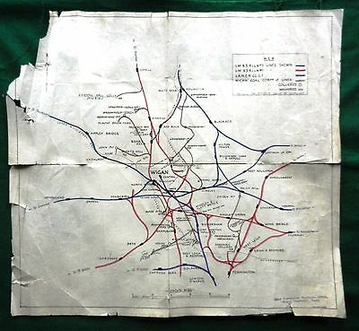Railway & Colliery Map Of Wigan Lancashire Lms Derby 1931