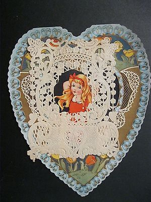 VTG Valentine Card DELICATE Whitney Made Die Cut Paper Doily Girl Gold Gilded G