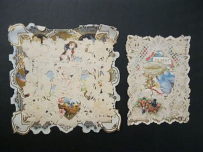 VTG Valentine Card DELICATE Whitney Made Die Cut Paper Doily Bluebird G1