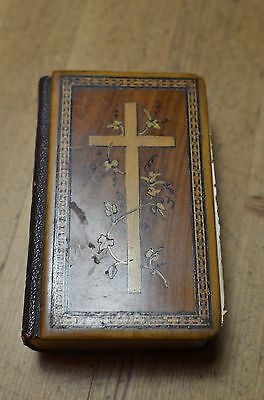 Antique Holy Land Inlaid Wooden Marquetry Cover Prayer Book