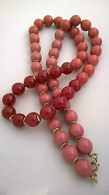 Vintage Jewellery Stunning Graduating Pink Bead Necklace Excellent Condition