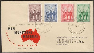 Australia 1940 KGVI Imperial Forces Illustrated Official First Day Cover Used