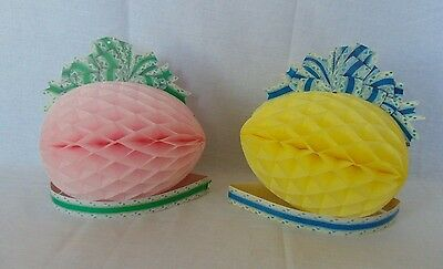 Vintage Set of 2 BEISTLE Pink & Yellow Honeycomb Tissue Easter Egg Decoration