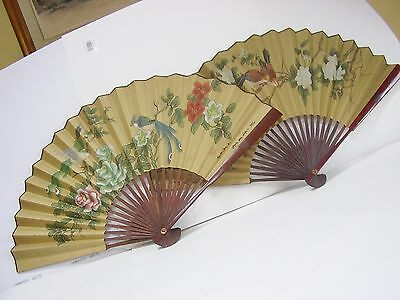 2 Large Vintage Chinese Hand Painted Bird Flower Silk On Paper Fan Wall Hangings