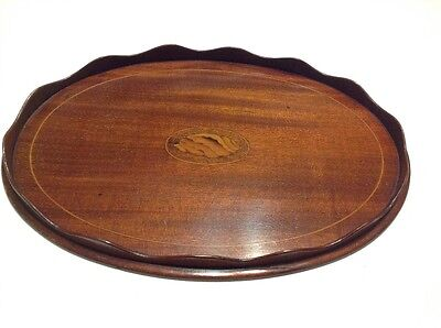 small mahogany scalloped serving tray