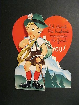 VTG Valentine Card Greeting early 1900's Mountain Climb Alps Swiss Boy H