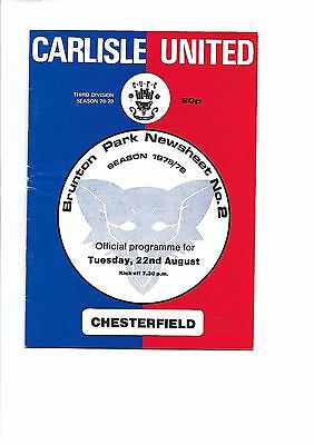 Carlisle United  v  Chesterfield, 22nd August 1978