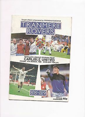Tranmere Rovers  v  Carlisle United, 17 March 1989
