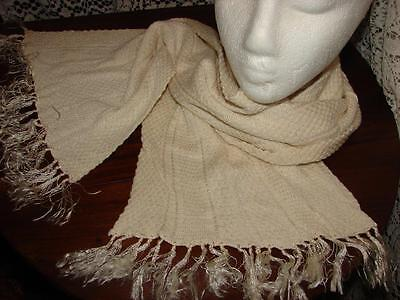 Antique,Vintage Mens Long Cream,White Scarf~Knitted Silky Fabric
