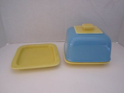 "vintage cheese dish covered. ceramic porcelain. yellow & robin blue. 6"" square"