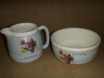Old Torquay Ware Cream Jug & Sugar Bowl - Floral Design
