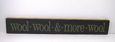 "Knitter's Wood Sign Plaque ""WOOL WOOL & MORE WOOL"" Rug Hooking"