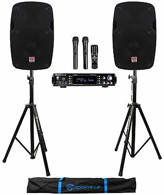 "Rockville 1000w 2 Chan Karaoke Amplifier/Mixer(2) VHF Mics+2) 8"" Speakers+Stands"