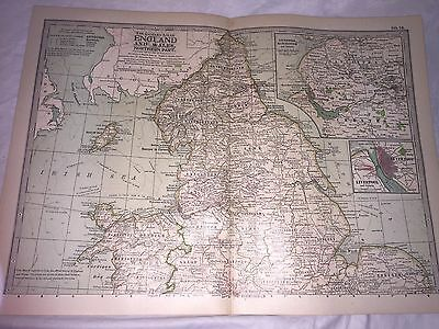 England Wales Map THE CENTURY DICTIONARY CYCLOPEDIA 1906 19937 Antique Northern