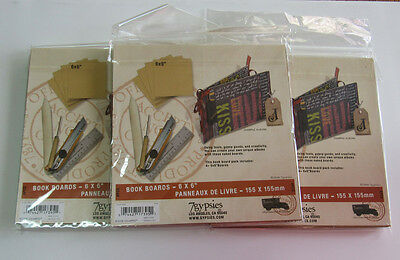 7gypsies 6x6 Book Boards Covers lot of 12 (3 pks/4) Bookbinding Making Chipboard