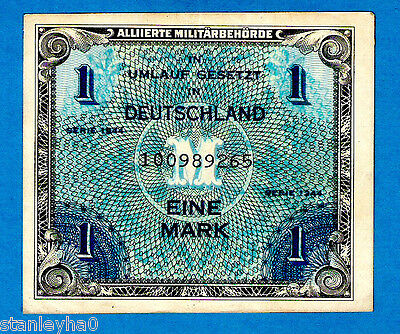 """AMERICAN ZONE Germany P192a 1 Mark AMC Serial # begining with  """"1"""" 1944 XF+ RARE"""