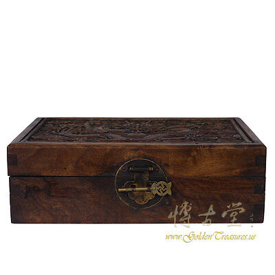 Chinese Antique Carved Rosewood Jewelry Box 27XH23C