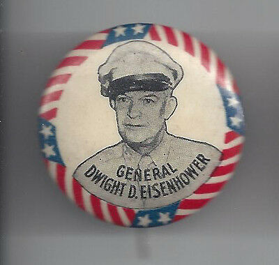 General Ike Eisenhower Picture Campaign Button - White Background