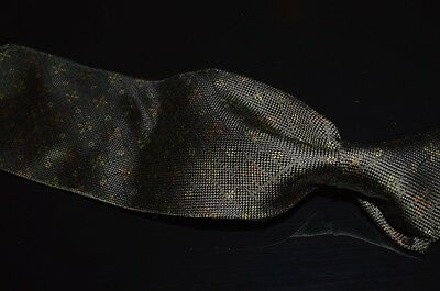 Ermenegildo Zegna Italy Forest Green Woven Grid Muted Floral Scatter Silk Tie NR
