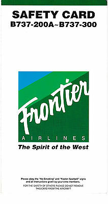 Frontier Airlines - Boeing 737-200A / 737-300 - Safety Card - 1995