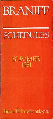 Braniff International Airlines - System Timetable - Summer 1981