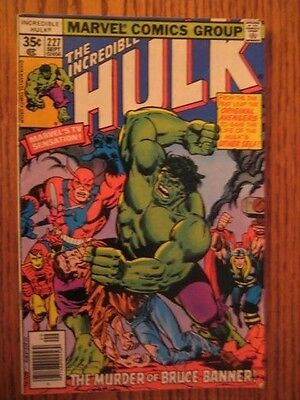 The Incredible Hulk #227(1978) The Murder of Bruce Banner? With The Avengers Fn.
