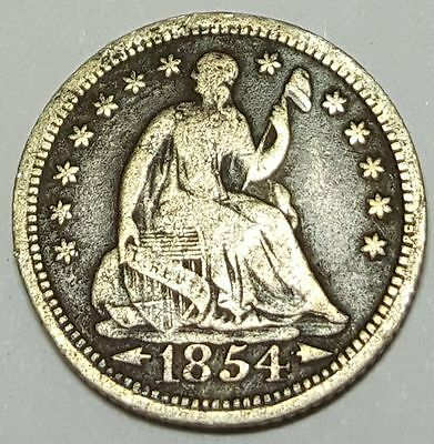 1854 VF-XF US Seated Liberty Half Dime Antique U.S. Silver 5 Cent Currency