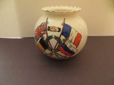 Antique Flags of Allies W H GOSS Crested  Porcelain Small 3 Inch Pot