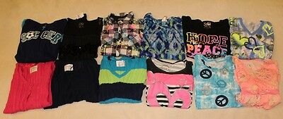 GIRLs 14 all JUSTICE shirts tops hoodie sweater cardigan 12 pc lot