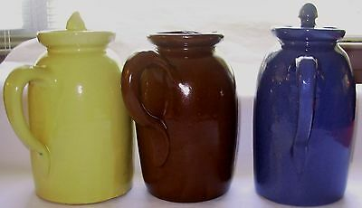 "3 Large 8"" Bybee Kentucky Pottery Pitchers~Blue~Brown~Yellow~Vintage~2 with lids"