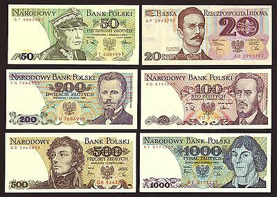 POLAND  Six  UNC  notes: 20,50,100,200,500&1000 Zlotych 1982-88
