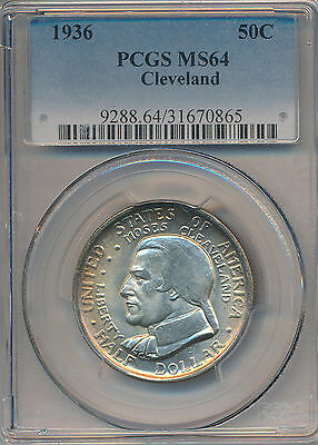 1936 Cleveland Commemorative Silver Half Dollar **pcgs Ms 64** Free Shipping!