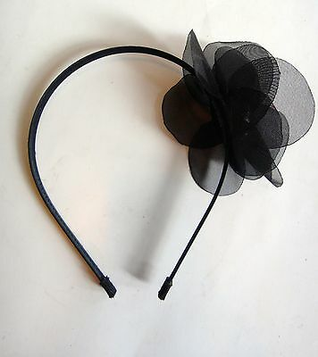TASHA Romantic Flapper Style Black Headband w Tulle Beads Brooch