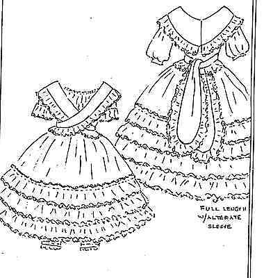 """16""""antique French Fashion/rohmer/huret Lady Doll@1865 Criss-Cross Dress Pattern"""