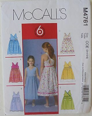 McCalls 4761 Girls 6 Great Dresses Sewing Pattern Sz 3-4-5-6