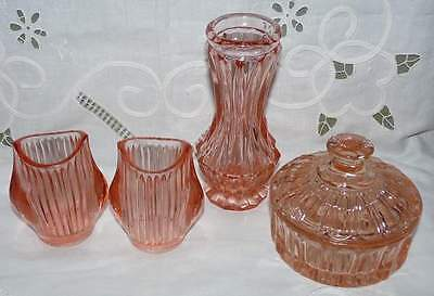 Pink Glass Set. 3 Vases and a Trinket Bowl w Lid. Pretty