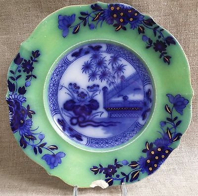 Flow Blue Ironstone Plate Oriental: Antique Staffordshire. Stunning Colours!