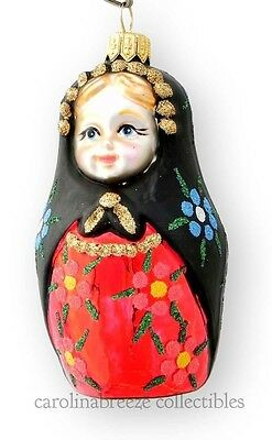 Russian Matryoshka Doll Blown Glass Christmas Ornament Koronex Poland