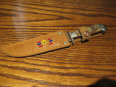 Vintage Fixed Blade Hunting Knife --With  Leather Sheath