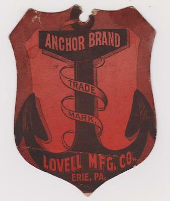 Rare Orig 1800's Tag For Anchor Brand Clothes Clothing Wringer Lovell Erie Pa