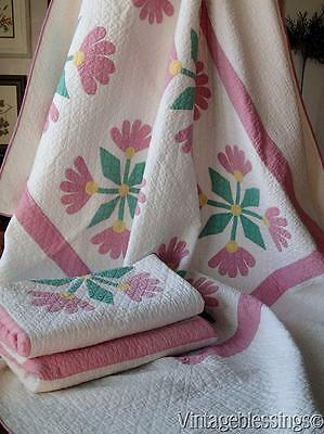 One of a PAIR Well Quilted Applique Floral QUILT Pink Green White (1)