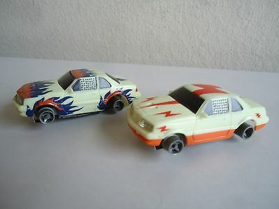 2 Life Like Glow In Dark Ford T-bird HO Slot Car as-is