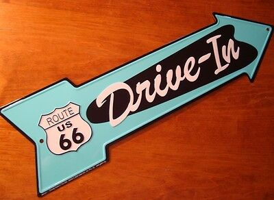 DRIVE-IN ARROW ROUTE 66 ROAD STREET SIGN Vintage Style Diner Drive In Decor NEW