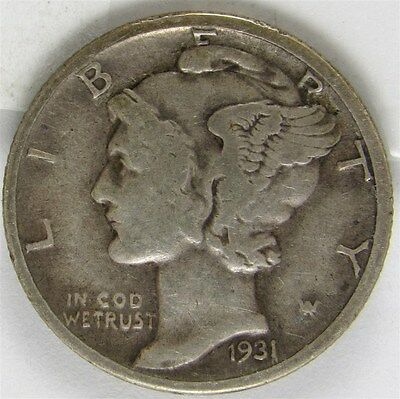 1931-D Mercury Dime 10c Silver - XF - Extremely Fine