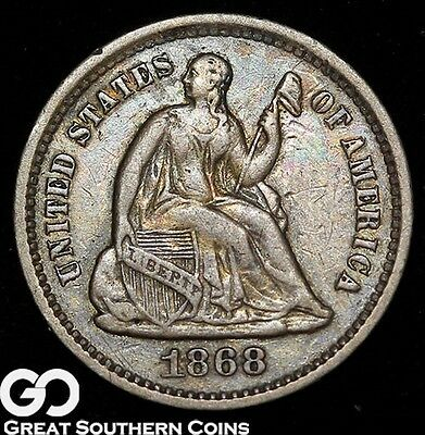 1868-S Seated Liberty Half Dime, Tough Better Date ** Free Shipping!