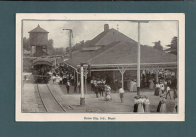 Rome City, IN, Indiana pc Railroad Depot, train, and passengers, used 1908, VF