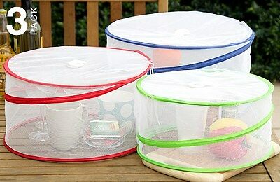 Food Covers Pop Up Set of 3 New Camping Picnics BBQ Collapsible Tableware