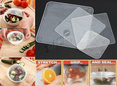 4PCS Reusable Silicone Food Stretch and Fresh Storage Wraps Seal Kitchen Tools