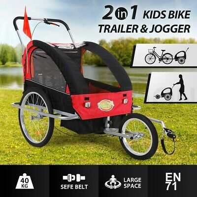 Kidbot 2IN1 Kids Bike Trailer Child Bicycle Pram Stroller Children Jogger BLACK