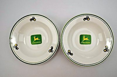 Set of 2 Gibson John Deere Soup Bowls Wide Rims Tractors and Deere White & Green